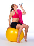 Woman drink water after exercise Stock Photography