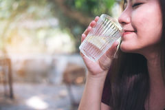 Woman drink water royalty free stock photography