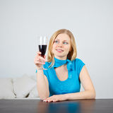 Woman Drink Wine Stock Images