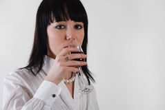 Woman Drink Wine Stock Photography