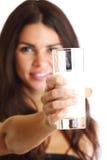 Woman drink yogurt Royalty Free Stock Images