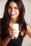 Woman drink yogurt Stock Image