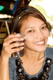 Woman with drink Stock Photos