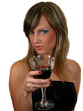 Woman drinking. From a wine glass, isolated on white Royalty Free Stock Photography