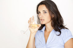 Woman  Drinking A Glass Of White Wine Stock Photography