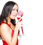 Woman Drinking Alcohol Drink At Christmas Party Stock Photos