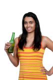 Woman drinking beer Royalty Free Stock Photography