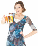 Woman drinking beer from the mug Royalty Free Stock Images