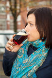 Woman drinking beer Royalty Free Stock Photos