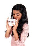 Woman drinking from big bowl. Stock Photos
