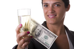 Woman drinking champagne Royalty Free Stock Photography