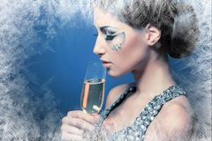 Woman drinking Champagne royalty free stock images