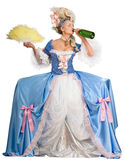 Woman drinking champagne, isolated. Woman in 18th century style dress drinking champagne Royalty Free Stock Photography