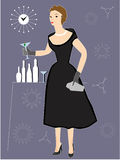 Woman drinking cocktail at Party. Woman drinking cocktail at 1950's Party in black dress Stock Photo