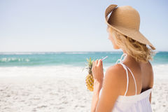 Woman drinking cocktail in pineapple Stock Images