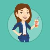 Woman drinking cocktail vector illustration. Stock Photos