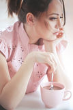Woman drinking cocoa Royalty Free Stock Image