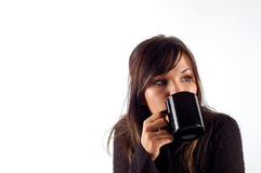 Woman drinking coffe Stock Image