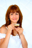 A woman drinking coffee Stock Photography