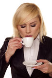 Woman drinking coffee. Stock Photo