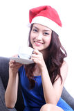 Woman drinking coffee Stock Image