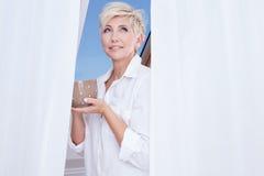 Woman drinking coffee. Royalty Free Stock Photo