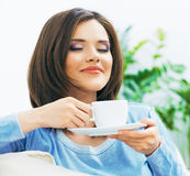 Woman drinking coffee. Stock Images