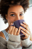 Woman Drinking Coffee Stock Photos