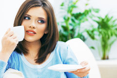 Woman drinking coffee,  close up face Royalty Free Stock Photos