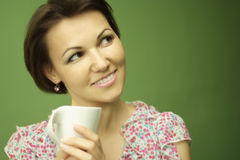 Woman drinking a coffee Stock Photo