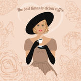 Woman drinking coffee. Elegant woman with cup of coffee in her hand. The best time to drink coffee. Vintage poster, card, invitation vector illustration