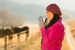 Woman drinking coffee morning Stock Images