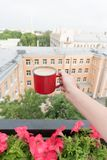 Woman drinking coffee outdoor on balcony outdoor. Hand with red coffee mug. Woman drinking coffee outdoor on balcony outdoor with roof top view on morning city Stock Photos