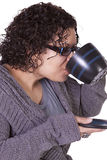 Woman Drinking Coffee Standing Up Royalty Free Stock Photos