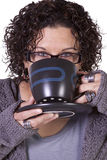 Woman Drinking Coffee Standing Up Royalty Free Stock Image