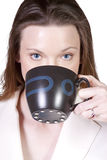 Woman Drinking Coffee Standing Up Royalty Free Stock Photo