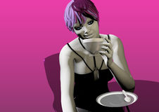 Woman drinking coffee or tea. Sexy woman drinking coffee or tea sitting at a glass table over a purple background, 3D illustration, raster illustration Stock Photography