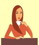 Woman drinking coffee, tea Stock Image