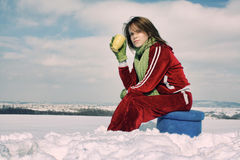 Woman drinking coffee in winter Stock Photography