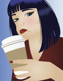 Woman Drinking Coffee. Young woman drinking Starbucks style coffee Stock Photo