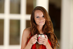 Woman Drinking Coffeee Stock Photography