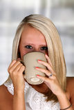 Woman Drinking Coffeee Stock Photo