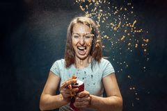 Woman drinking a cola royalty free stock photos