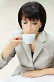 Woman drinking cup Royalty Free Stock Photo