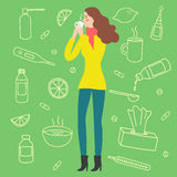 Woman drinking a cure for cold and flu. Including doodle treatment elements on background, such as pills, syrups, food. Hand drawn health-care illustration for stock illustration