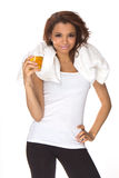 Woman drinking energy-drink Stock Photo