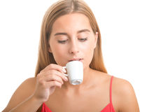 Woman Drinking an Espresso Royalty Free Stock Photos