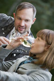 Woman drinking glass champagne Royalty Free Stock Images