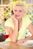 Woman drinking glass of wine Stock Photos