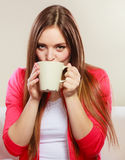 Woman drinking hot coffee beverage. Caffeine. Stock Images